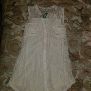 Open lace front tank top